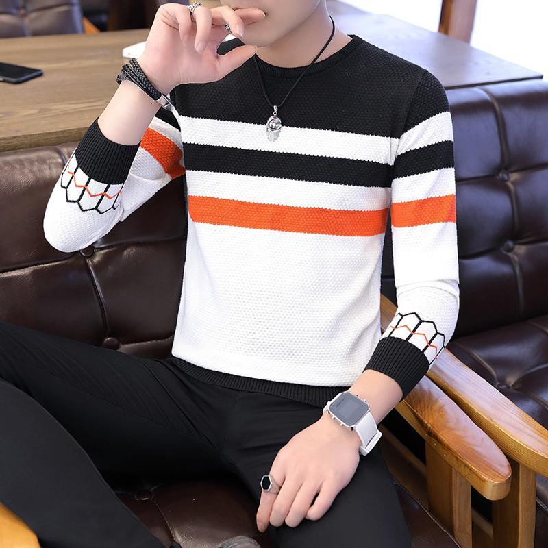 Повседневный мужской свитер цвет блока пэчворк O образным вырезом с длинным рукавом вязаные свитера топ Блузка для теплой мужской одежды полосатый C251