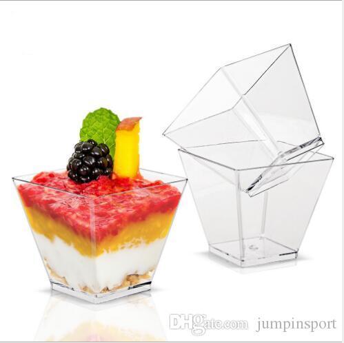 Pequeño postre taza desechable 2 oz taza mousse transparente buffy tazón torta cuenco helado recipiente plato postre al gusto