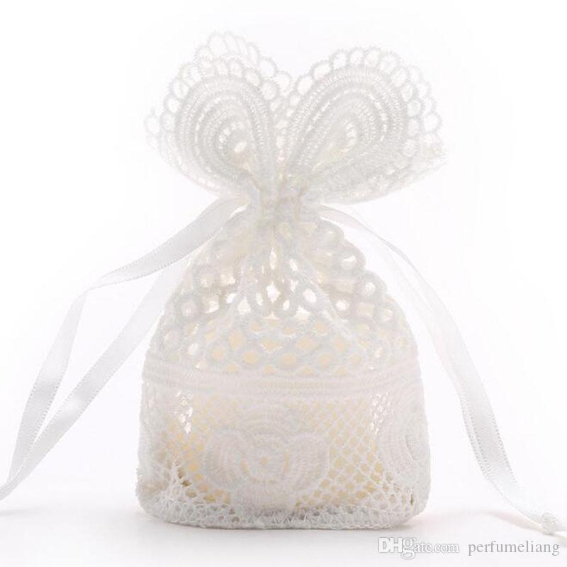 White Hole Lace Silk Drawstring Bags Milk Silk Lace Decorations Pouches Jewelry Cosmetic Packing Gift Bag 10x14cm ZC1174