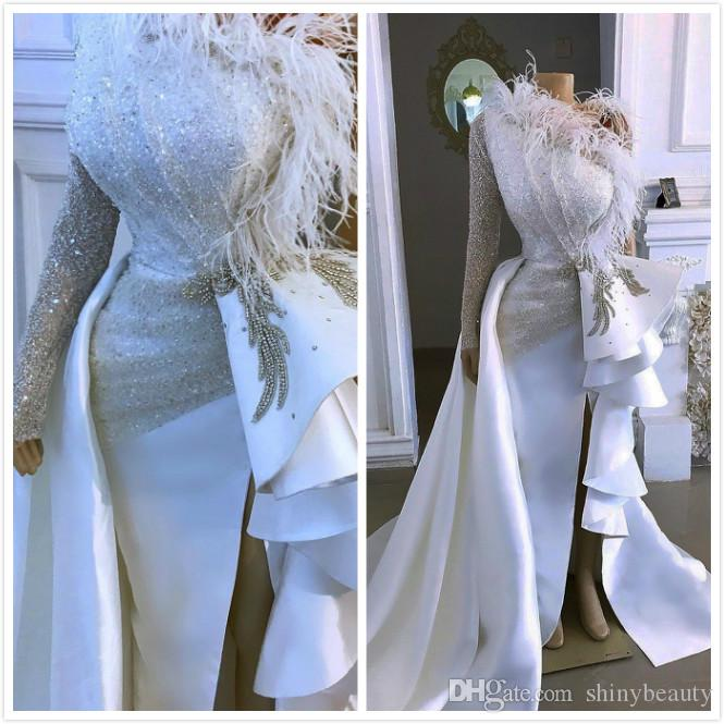 2020 Arabic Aso Ebi Sparkly Sexy Cheap Evening Dresses One Shoulder Crystals Feather Prom Dresses Sheath Formal Party Second Reception Gowns