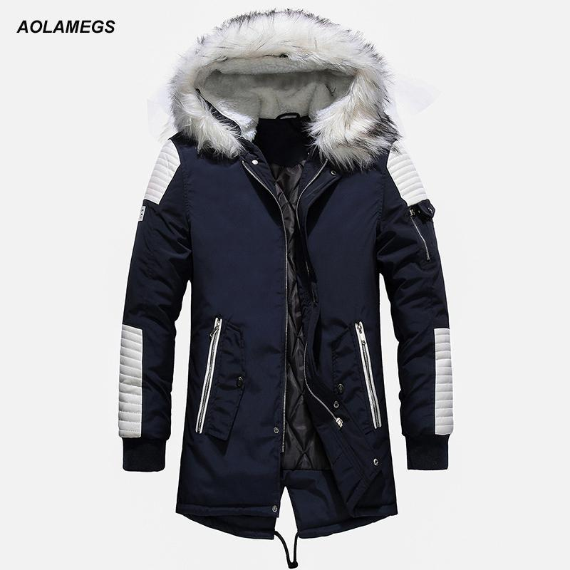 Aolamegs меховой воротник Зимняя куртка Мужчины Лоскутная Толстый с капюшоном вниз куртки Мужчины ветровки Мода ветрозащитный Пальто мужские Streetwear