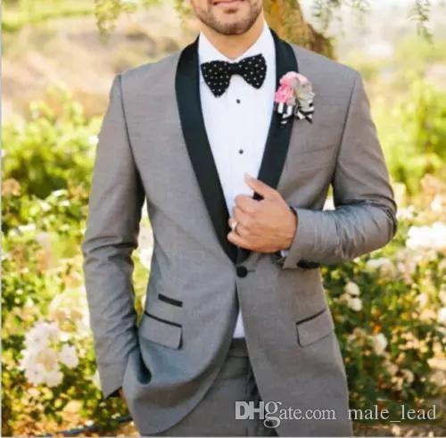 Высокое качество одной кнопки жениха шаль отворот жениха смокинги мужские костюмы свадьба / выпускной блейзер лучший человек (куртка + брюки + галстук) 058