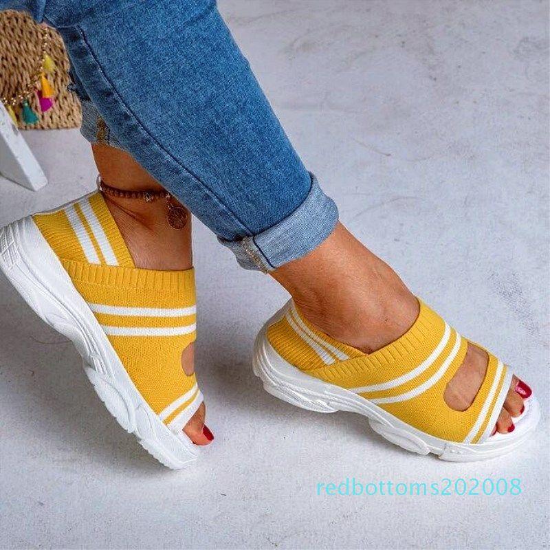 SANDRA JRR mujeres sandalias de verano talón de cuñas de punto Tela Peep Toe En Slip elástico zapatos de verano zapatillas de deporte femenino de la talla