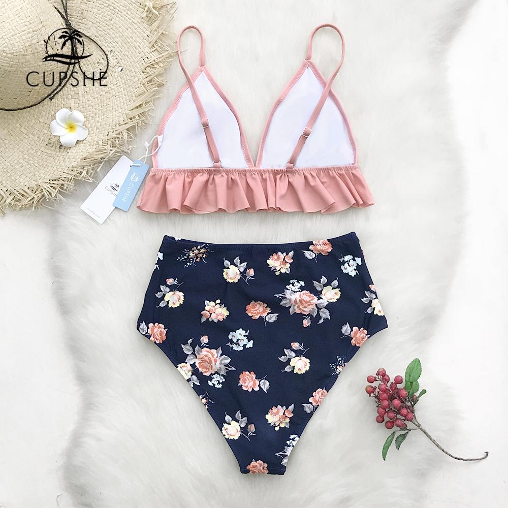 CUPSHE Rosa Bl/üte Floral Badeanzug