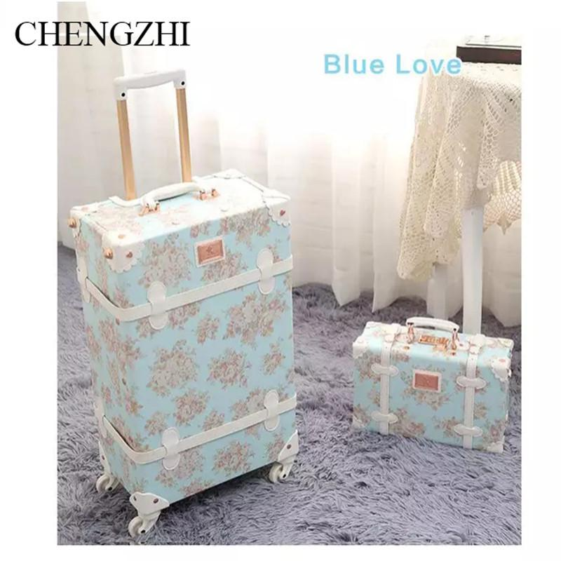 "CHENGZHI 20""24""26 inch Retro floral rolling luggage sets spinner trolley women suitcase trolley bags on wheels"