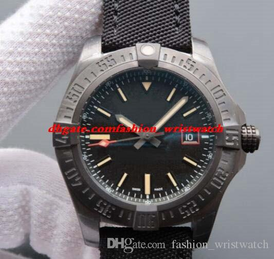 Reloj de lujo Blackbird Nylon negro 44mm Reloj de titanio negro para hombre V1731110 Relojes automáticos de moda para hombre Reloj de pulsera