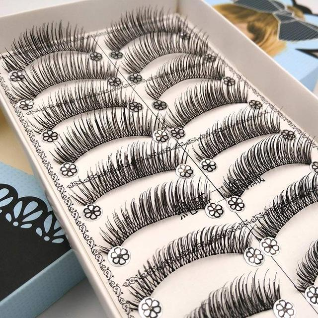 10 pares pestañas falsas naturales Pestañas pelo sintético latigazos falsos falsos hecha a mano Mink Pestañas Maquillaje