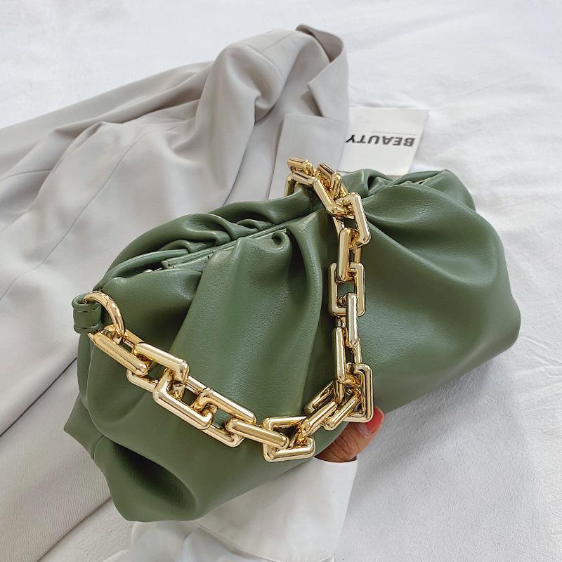 2020 Dia embraiagem cadeias de ouro de espessura dumpling clip bolsa do saco mulheres nuvem saco de ombro das axilas plissado Baguete bolsa bolsas bolsa