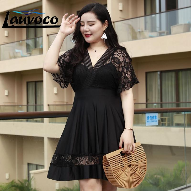 2018 Lace 7xl Fat Plus Size Swimsuit One Piece Swimwear Women Black Sexy Bathing Suit For Women Brazilian Girls Beachwear Dress Y19072701