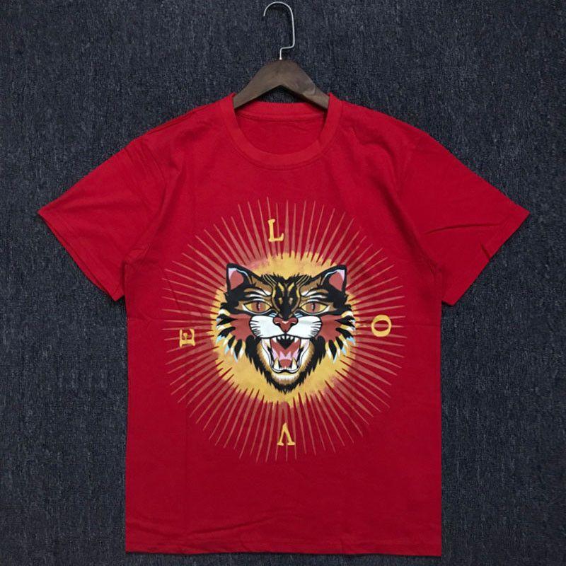 Yaz Erkek T Shirt Yumuşak Pamuk Kısa Kollu Moda Hayvan Erkekler Kadınlar Tees Boyut M-2XL yazdır