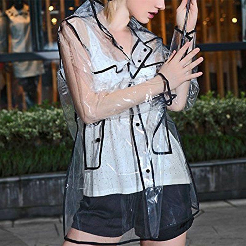 1 Pcs Women Black Transparent Raincoat EVA Runway Clear Rain Coat For Men Fashion Outdoor Travel Waterproof Raincoats