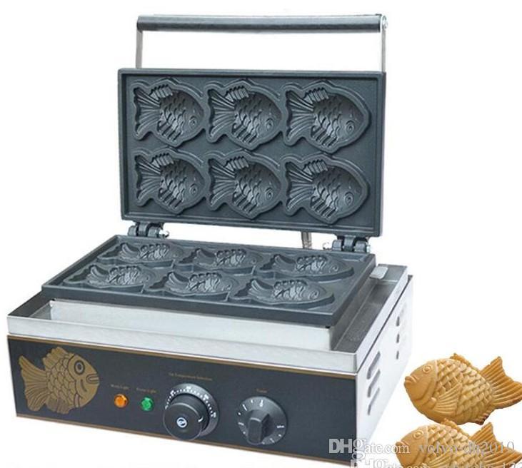 Uso domestico e commerciale Nonstick 110 v 220 v Elettrico 6 pz Mini Pesce Waffle Taiyaki Baker Machine Maker Piastra LLFA