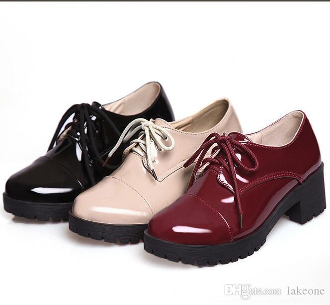 Women Oxford Toe Oxfords Leather Fashion Round Brand Lace Up Shoes England Flat For Vintage Women Oxfords Leather Genuine Cow Ourhh