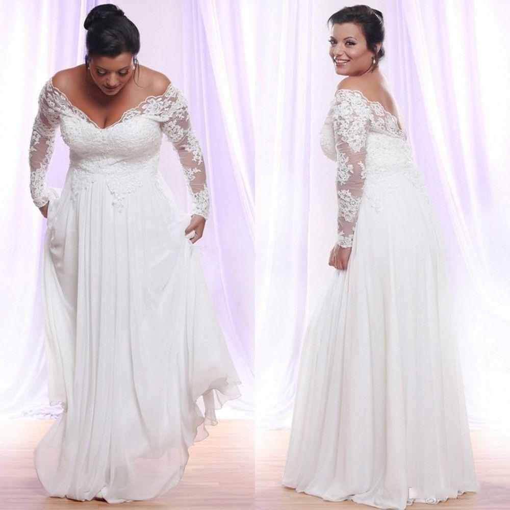 Plus Size Summer Chiffon A-Line Vestidos De Noiva Profundos V-decote Decote Long Sleeves Applique Beach Country Vestidos de casamento fora do ombro vestido nupcial
