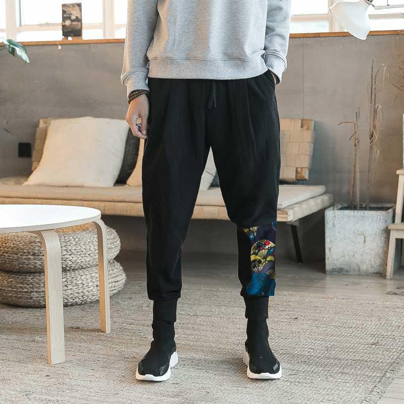Harem ocasional de los hombres del basculador de los hombres jadea los pantalones flojos masculino Harajuku del algodón del estilo de lino 2020 Nueva pantalón de gran tamaño M-5XL