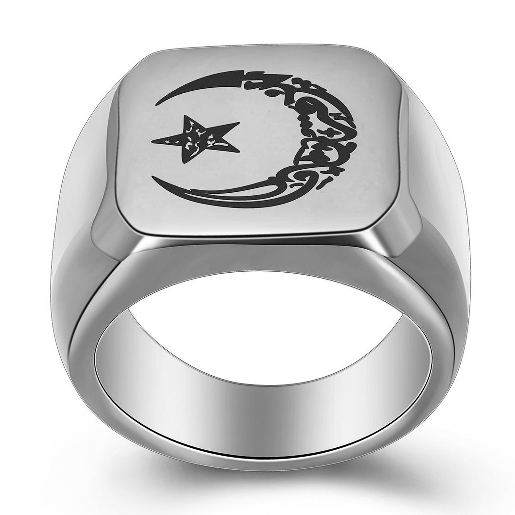 4 Colors guys Titanium Stainless Steel Vintage Moon Star Sun Mens Finger Ring Lovers Gifts for Husbond Boyfriend for Sale Wholesale