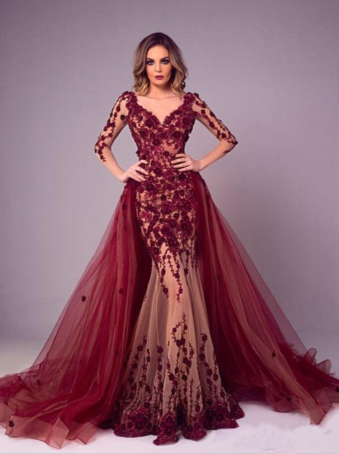 Tony Chaaya 2020 Robe de soirée avec Amovible train Burgundy Lace Applique sirène Robes de bal Plus Size manches longues de luxe Party Dress