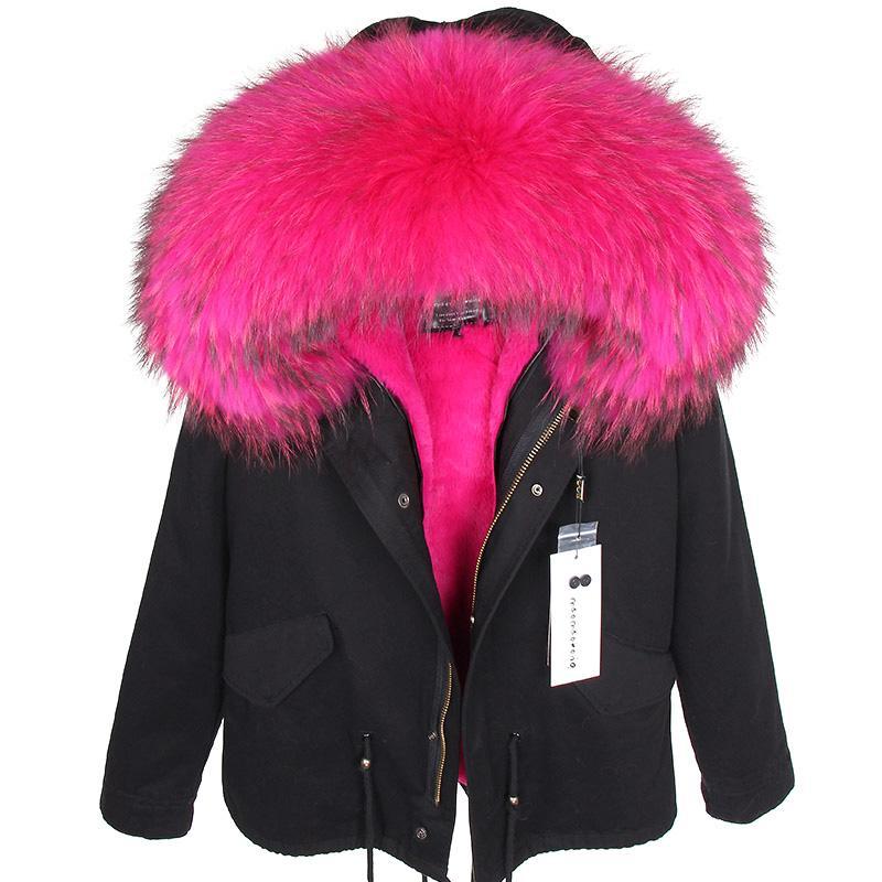 MAOMAOKONG2019 nuovo autunno collo di pelliccia di procione reale e rivestimento delle donne inverno più cotone ispessimento femminile cappotto SH190930