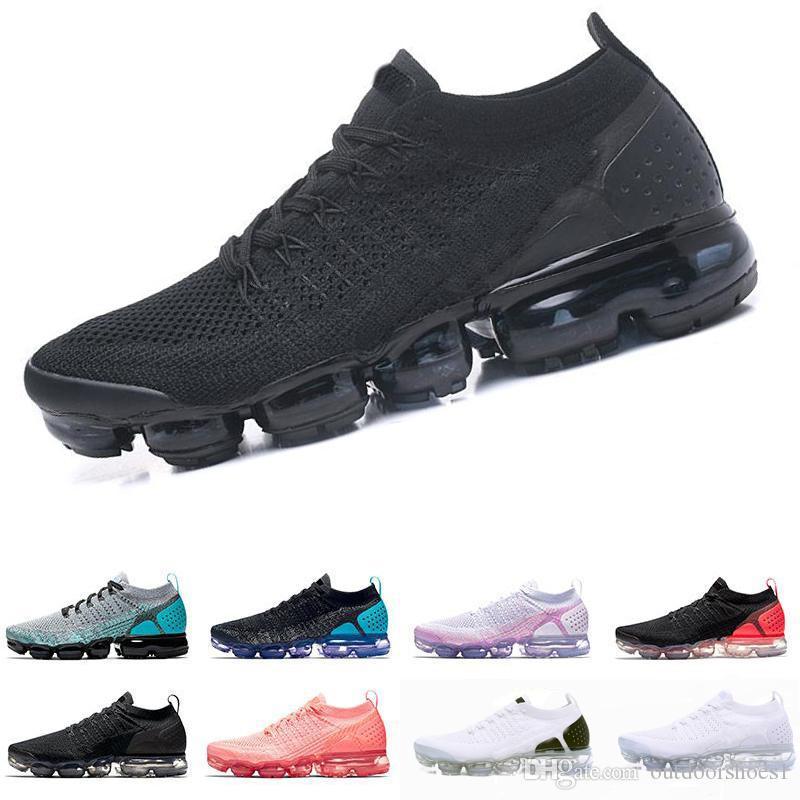 nike air max airmax vapormax flyknit 2.0 2019 Knit 1.0 Fly 2.0 Zapatos para correr Hombres Mujeres BHM Rojo Orbita Metallic Gold Triple Black Diseñador Zapatos Zapatillas de deporte Entrenadores 36-45
