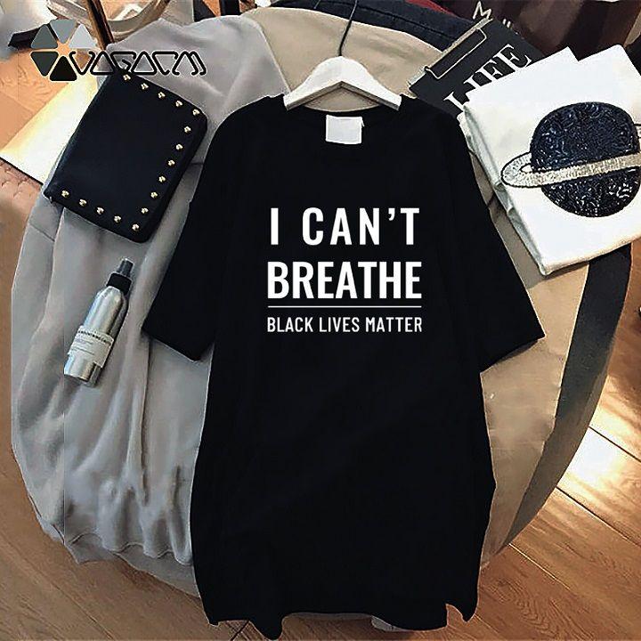Las mujeres del verano impresión de la letra vestido 2020 nueva llegada, no puedo respirar Vestidos letras negras Vidas Matters Moda Ropa Resist