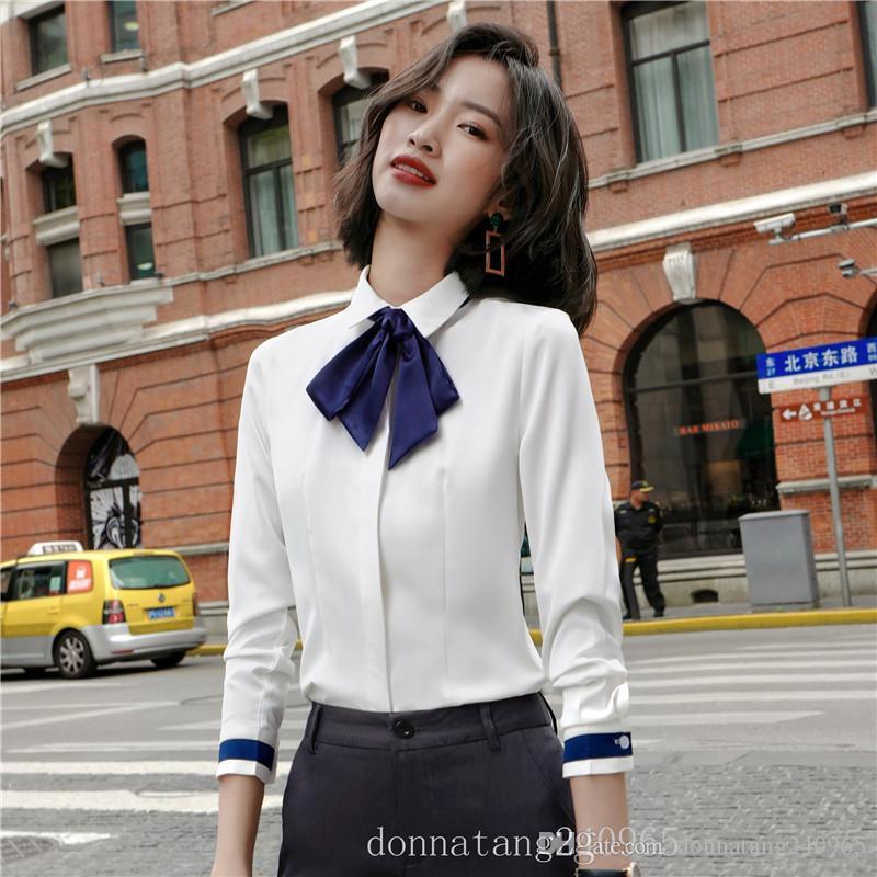 BS936 Moda Elegante Mujer Office Lady Formal Button Down Blusas Camisa Manga Larga Tops Blancos Blusa