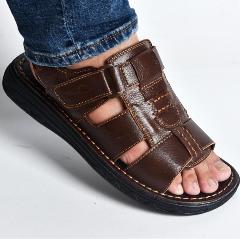 2020 yaz mens terlik hakiki deri sandaletler Plaj ayakkabı rahat erkek deri sandaletler İçi boş havalandırılmış ayakkabı hombre Açık