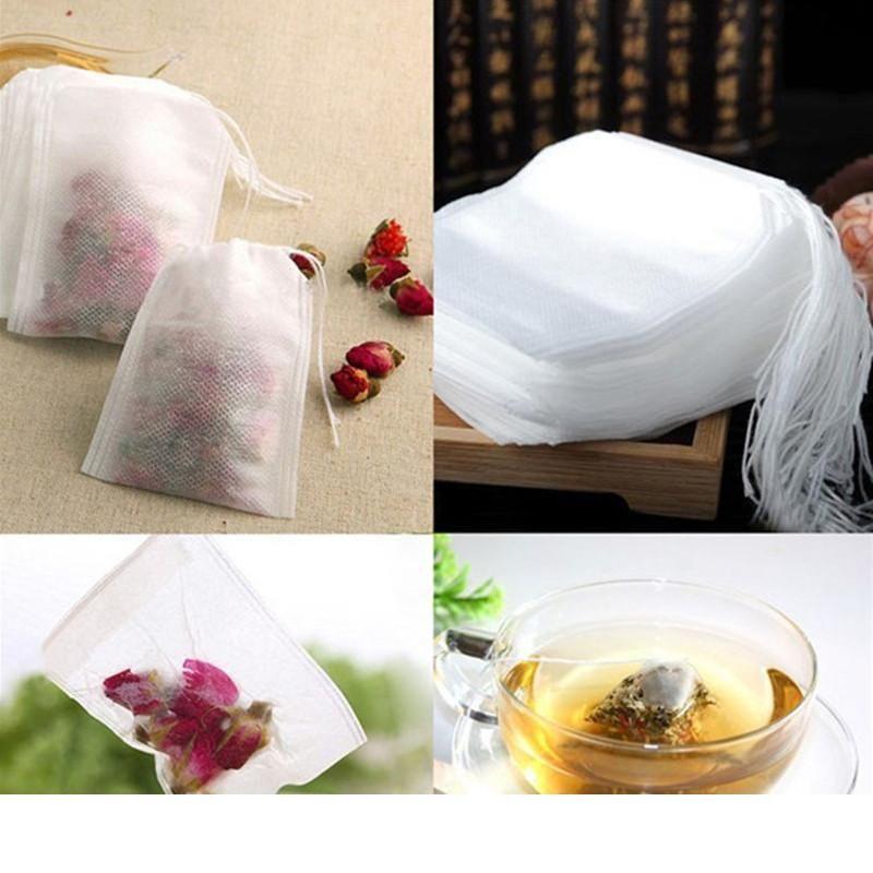 100шт упаковка чайных пакетиков 5.5 x 7 см пустой душистые пакетики с строка исцелить уплотнение фильтра бумаги для травы рассыпной чай биржи c392