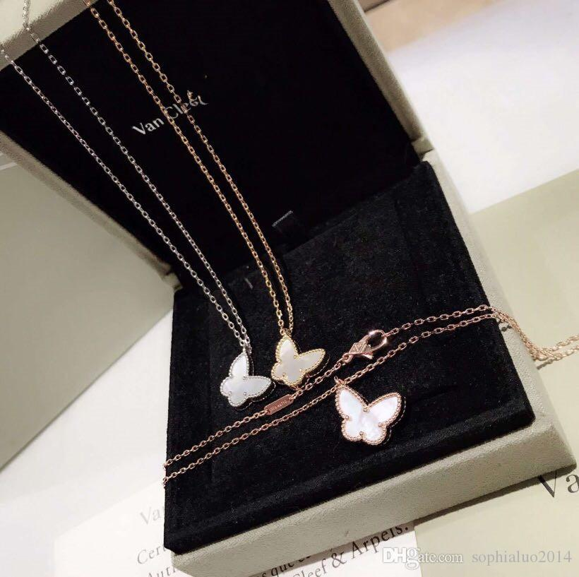Dei monili dell'annata dolce Alhambra S925 Sterling Silver Ceramic White Rose oro giallo pendente della farfalla collana per le donne