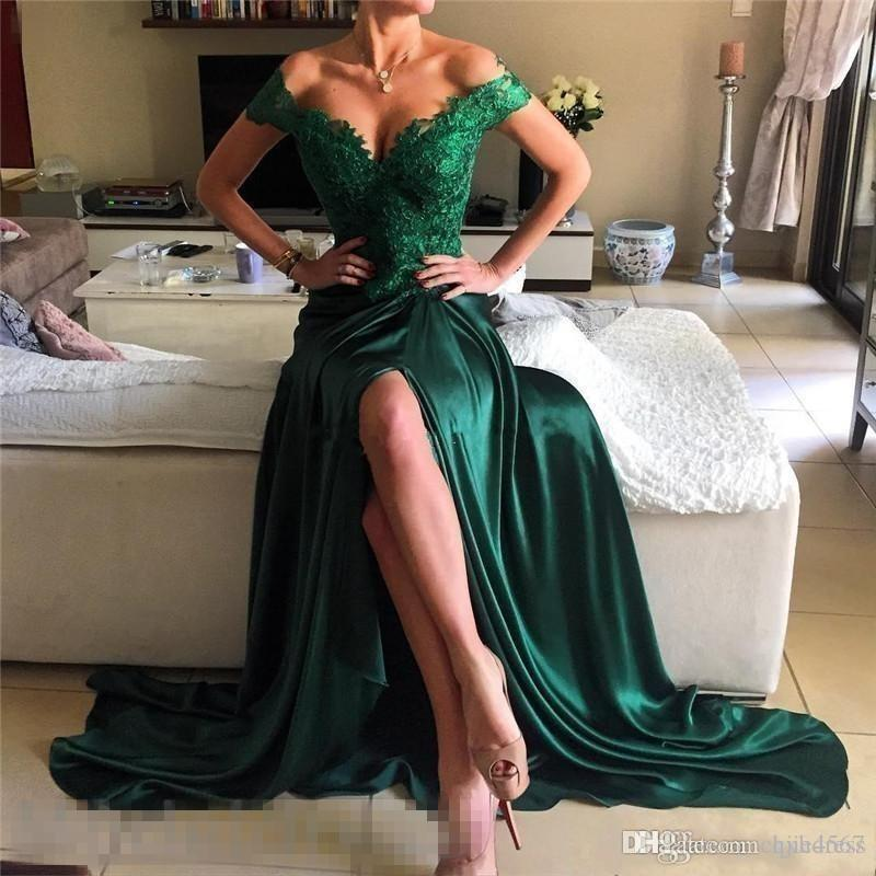 New Off Shoulder Appliques Lace A Line Long Modest Vestios De Fiesta Backless Evening Party Gowns Hunter Green High Split Prom Dresses A191