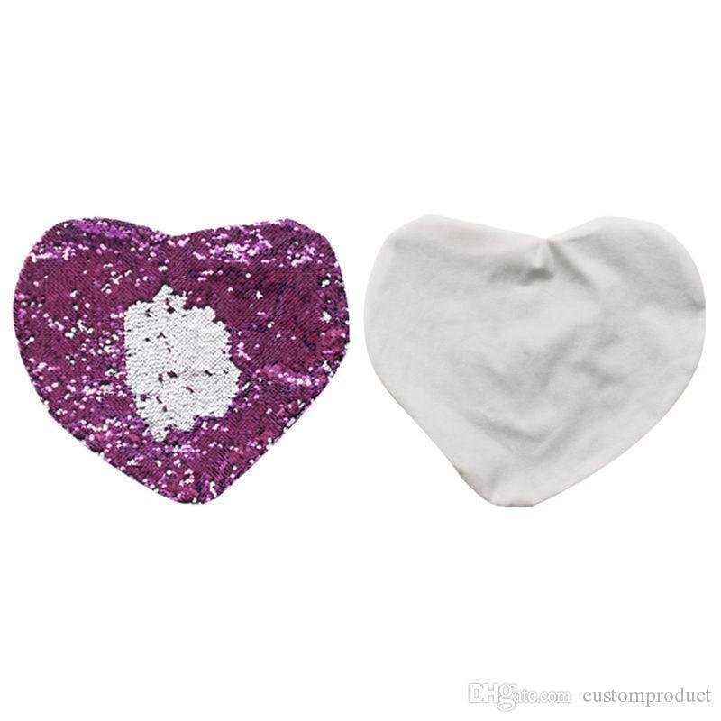 vuoto a forma di cuore federa puro calda di trasferimento di sublimazione magia paillettes stampa personalizzata all'ingrosso regali personalizzati fai da te 46 * 42cm