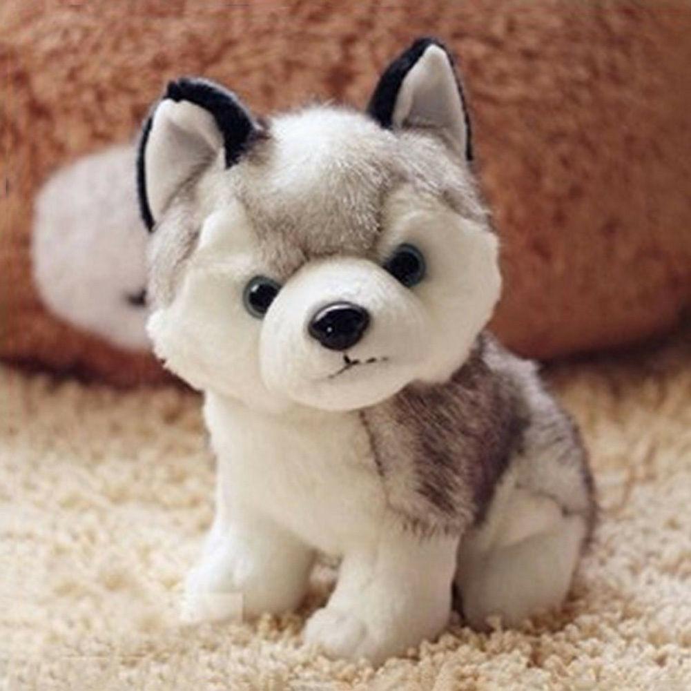 2019 최신 뜨거운 봉제 인형 부드러운 장난감 귀여운 허스키 개 유아 유아 아기 귀여운 인형 완구 선물 18cm