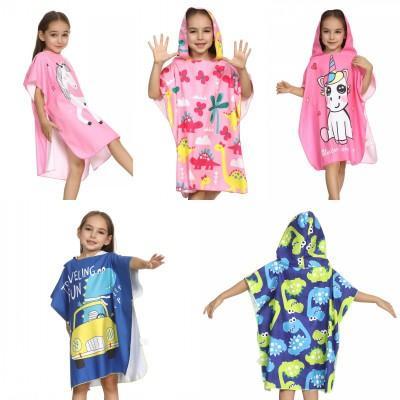 Kinder Cartoon Bademantel schnell trocknend Strand Schwimmen Mantel tragen Badetuch Bademantel mit Kappe fit für 90-120cm