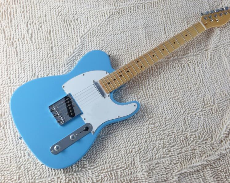 TL ciel guitare électrique érable corps bleu touche usine plaque de protection blanche vente directe peuvent être personnalisés, livraison gratuite