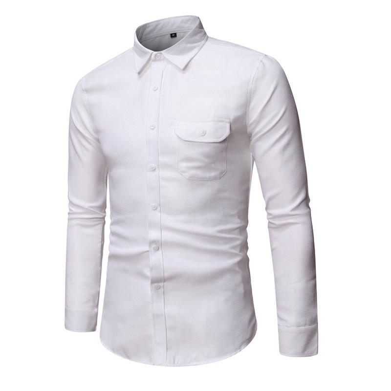 Erkek gömlekler erkek düz renk ince tek sıra düğmeli gömlek moda iş rahat gömlek düğün ziyafet resmi