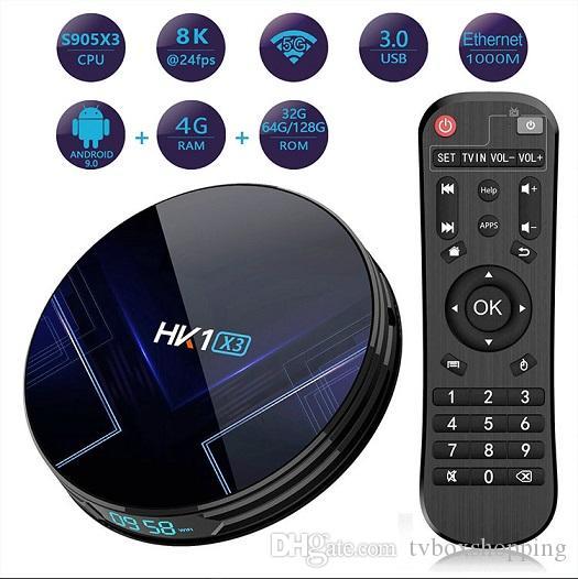 HK1 X3 Amlogic S905X3 Android 9.0 TV BOX 4GB RAM 2.4G&5G Wifi BT4.0 TV BOX PK TX6 H96 MAX