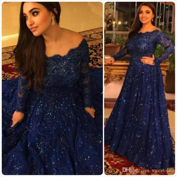 Brillantes vestidos de noche de la vendimia 2020 Tamaño barato de manga larga de las lentejuelas de largo más árabe de encaje formal de baile vestido de Maxi