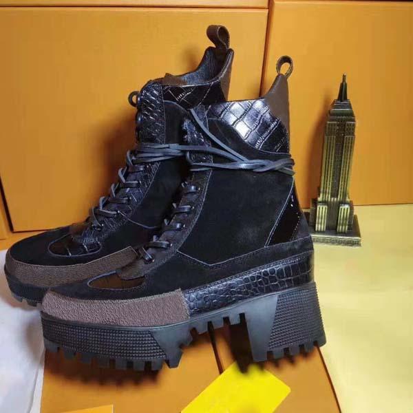 Frauen Luxus-Designer-Stiefel aus Leder Stiefelette klobige Ferse Martin Schuhe Drucken Leder-Plattform-Wüste Schnürstiefel 5cm Größe 35-42 mit Box