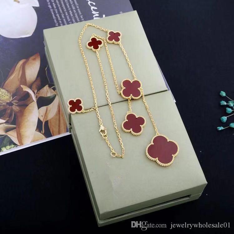 الكوبي ربط سلسلة قلادة مصمم أزياء مصمم الفاخرة والمجوهرات قلادة نساء زهرة سلسلة الذهب أفضل هدية
