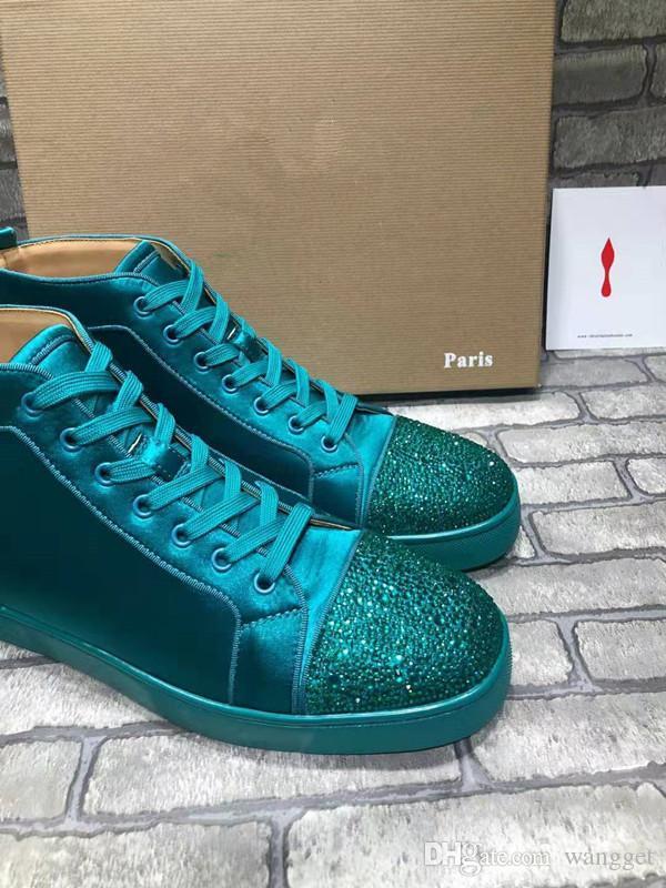 Mükemmel Sokak Erkekler Kadınlar Tasarımcı Ayakkabı Yüksek Üst Kırmızı Alt Sneakers Casual Yürüyüş Flats Parti Yeşil Boş Sneakers Yeni Öğeler