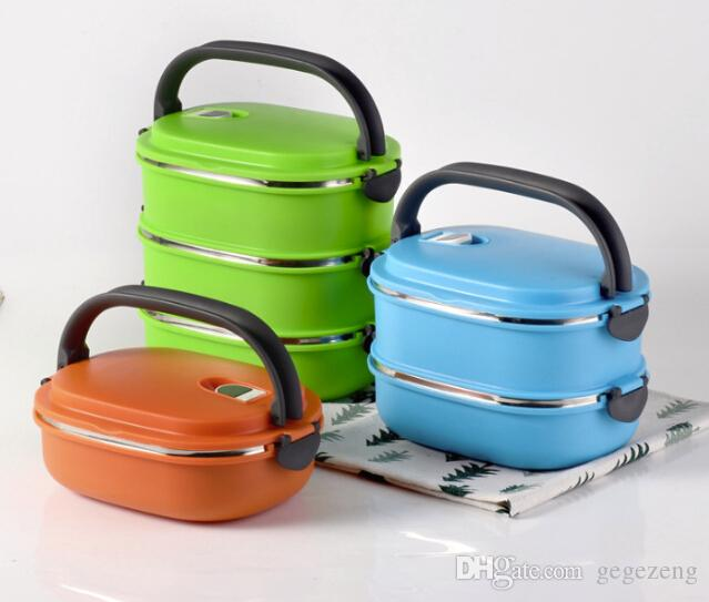 Creative insulated lunch box stainless steel Stainless steel insulated square lunch box gift preservation bowl double student lunch box