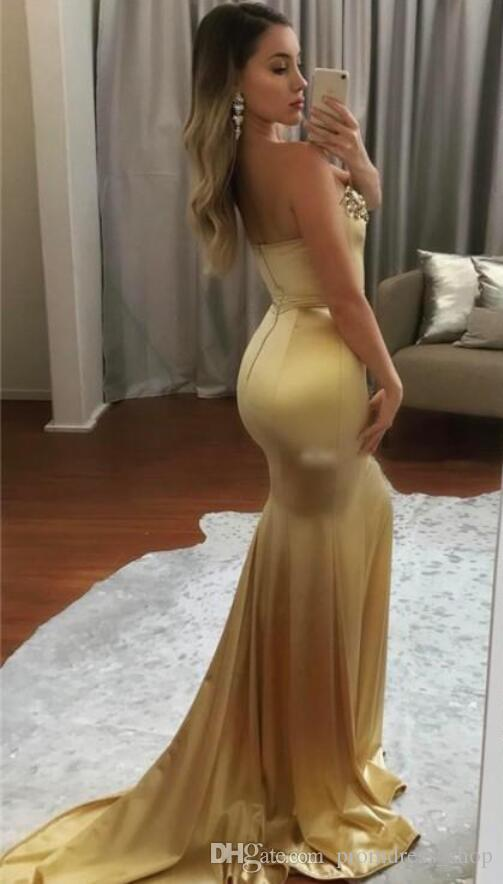 2020 Arabic Dubai Sexy Gold Evening Dress Mermaid Sweetheart Celebrity Formal Holiday Wear Prom Party Gown Custom Made Plus Size