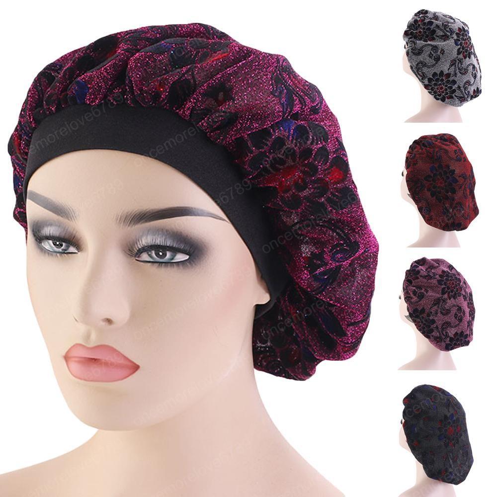 Горячие Продажи Женщины Тюрбан Эластичный Ночной Сон Cap Печатный Уход За Волосами Капот Шарф Головные Уборы Мусульманские Шляпы Крышка Skullies Шапочки Новый