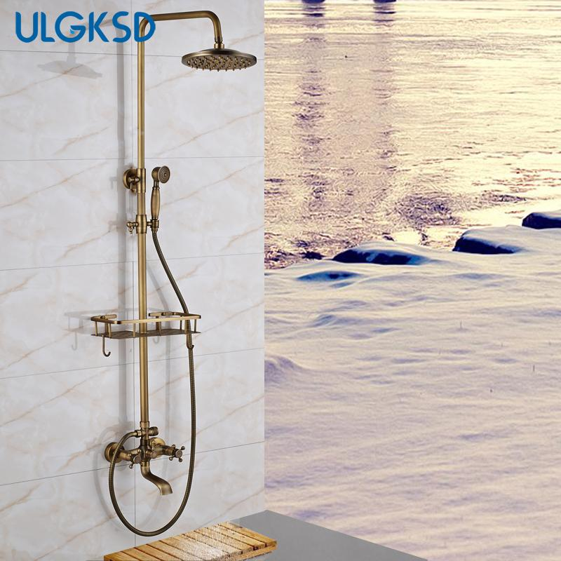 """wholesale Bathroom Shower Faucet 8"""" Rainfall Shower Head Antique brass Bathroom faucets with Lifting Rod Handheld Sprayer mixer tap"""