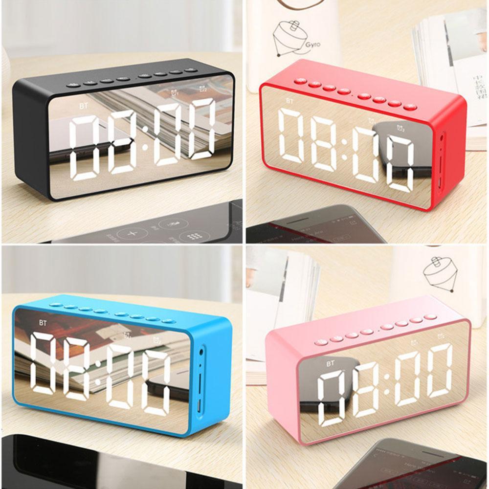 Sem fio Bluetooths Speaker Subwoofer Espelho LED Alarm Relógio Portátil Loudspeaker Basse Bass Box Suporte AUX FM TF Cartão