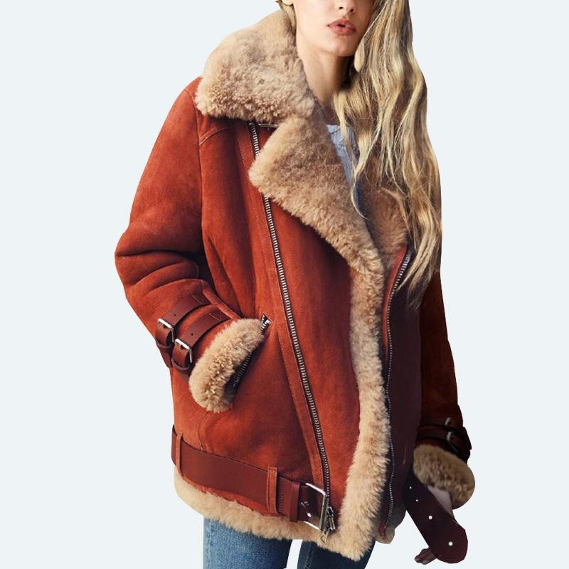 Veste en daim Femmes PU Veste Fausse Fourrure Vestes Faux Cuir épais Biker Manteau Moto outwear Plus La Taille Surdimensionné hiver