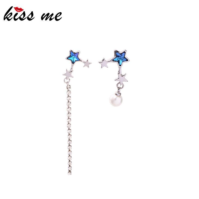 Asymmetric Crystal Long Chain Acrylic Pearl Drop Earrings For Women Gifts Purple Glass Star Dangle Earrings Accessories