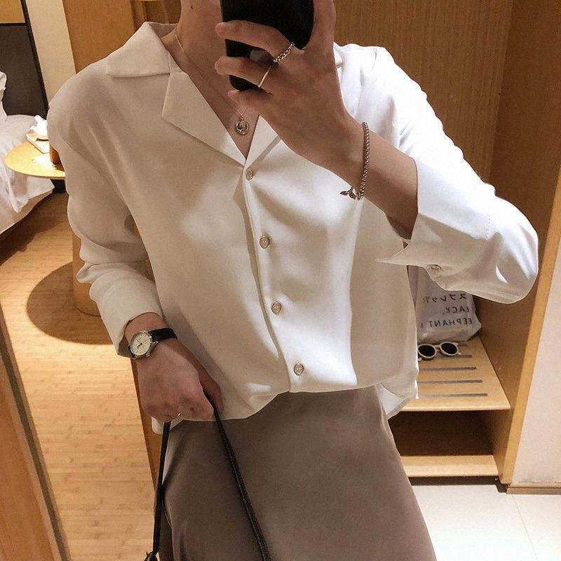2020 2020 Kadınlar Bahar Bluzlar çevirin Aşağı Yaka Uzun Kollu Kadınlar Tops Ve Bluzlar şifon Beyaz Gömlek blusas Roupa Feminina Dış Giyim I9NH #