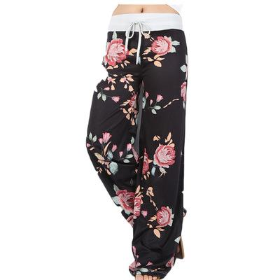 2019 Hot soldes Pantalons de yoga Europe Mode large Leg Pants Impression Floral Casual Loose Women respirante Corsaires Pantalons taille-2XL gros