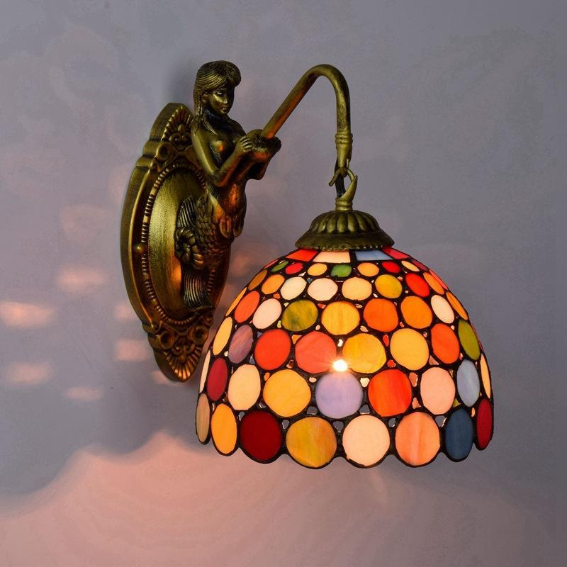 European retro lamps Tiffany stained glass decoration lamp living room bedroom bar club aisle bright balcony wall lamp