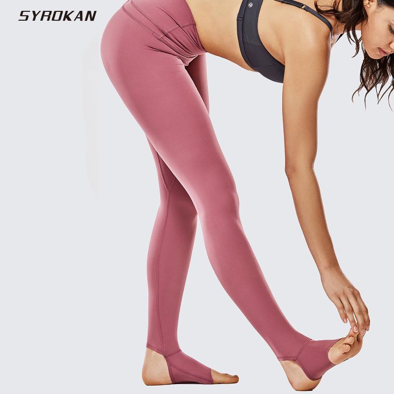 Desnudo de la sensación de SYROKAN mujeres de cintura alta Estribo polainas Deportes Yoga Tights- 28 pulgadas